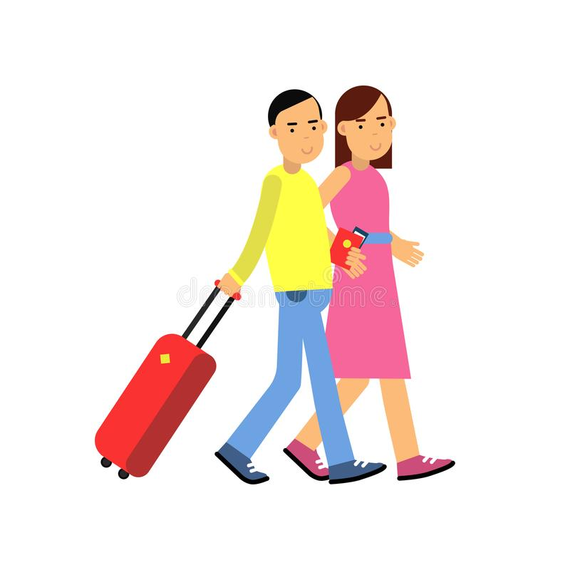 Young couple tourists walking to airport with luggage, passports and tickets in hands, family traveling stock illustration