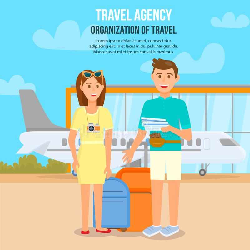 Young Couple Traveling by Airplane. Waiting Flight stock illustration