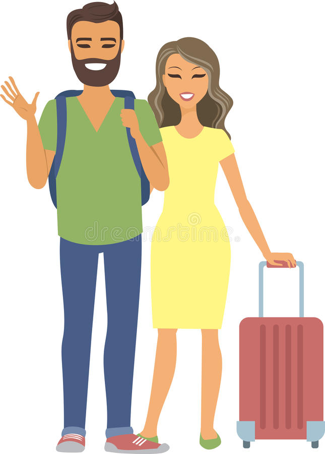 Young couple traveling. Young caucasian couple traveling with suitcase standing togetrer vector illustration