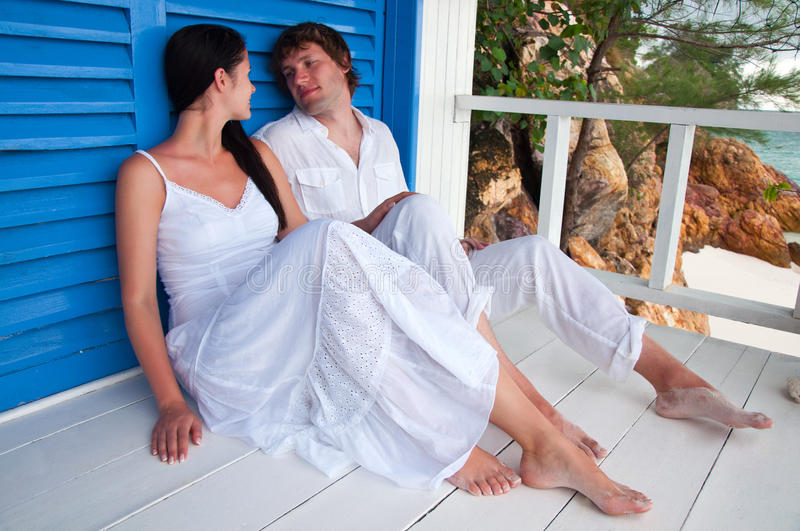 Download Young Couple In Tropical Beach House Stock Photo - Image: 25766250