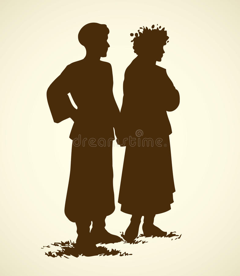 Young couple in Ukrainian national dress. Vector sketch royalty free illustration
