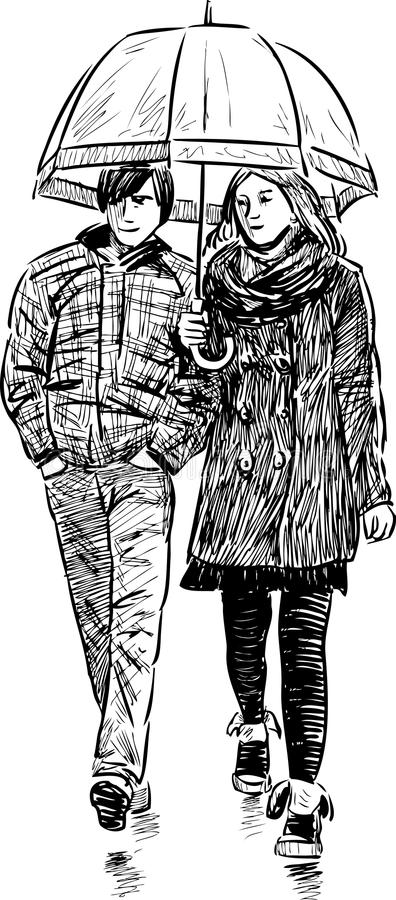 Young couple under umbrella vector illustration