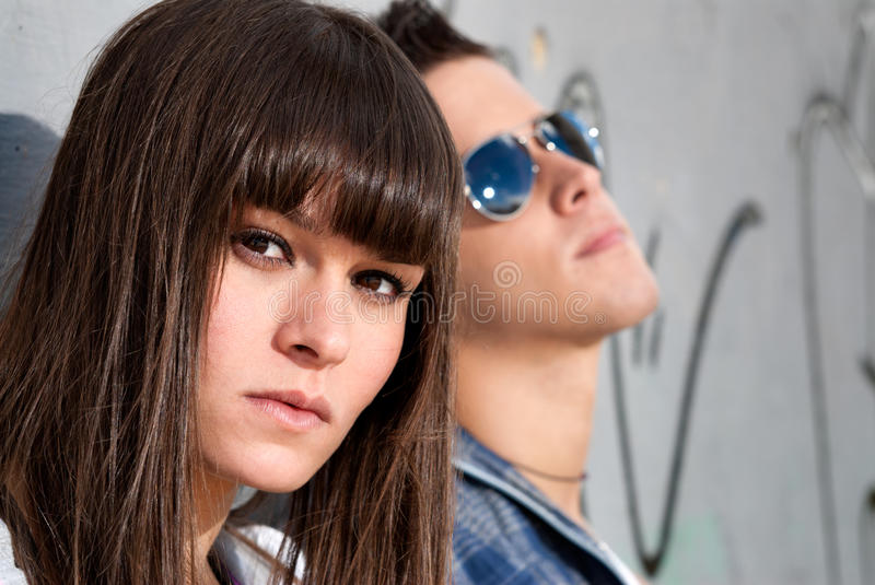 Young couple urban fashion close-up portrait royalty free stock images