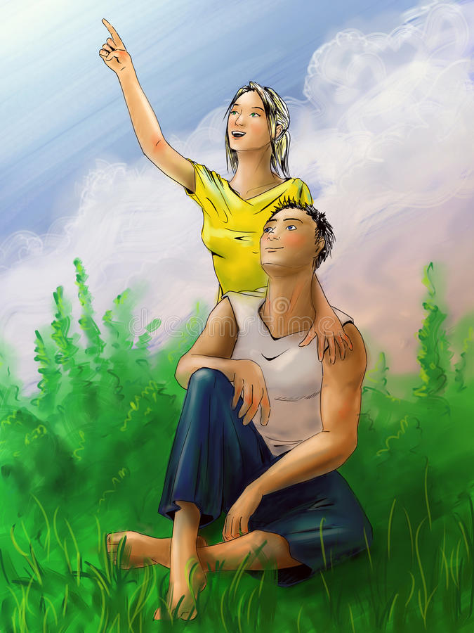 Young couple on vacation stock illustration