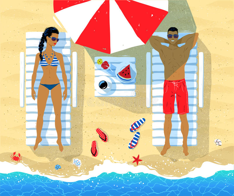 Young couple on vacation royalty free illustration