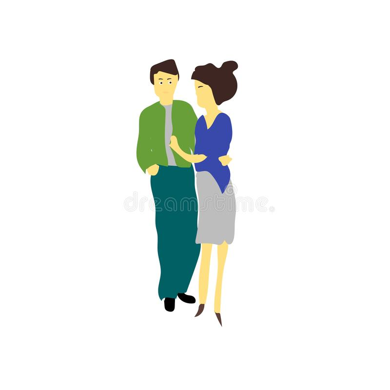 young couple vector vector sign and symbol isolated on white background, young couple vector logo concept royalty free illustration