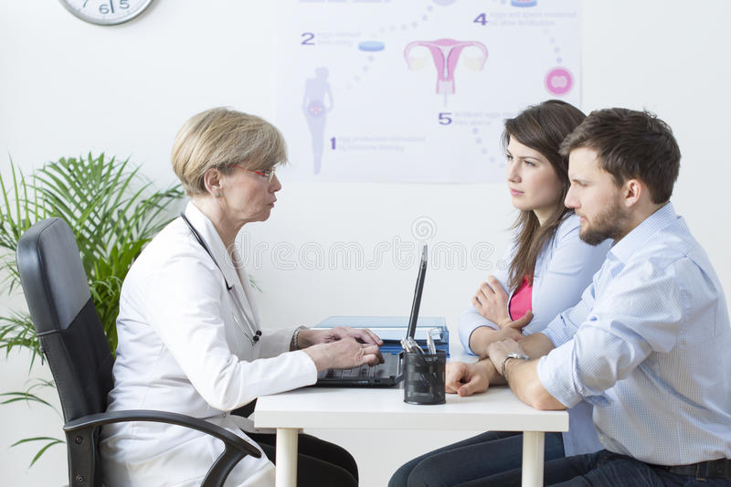 Young couple visiting a gynecologist royalty free stock photo