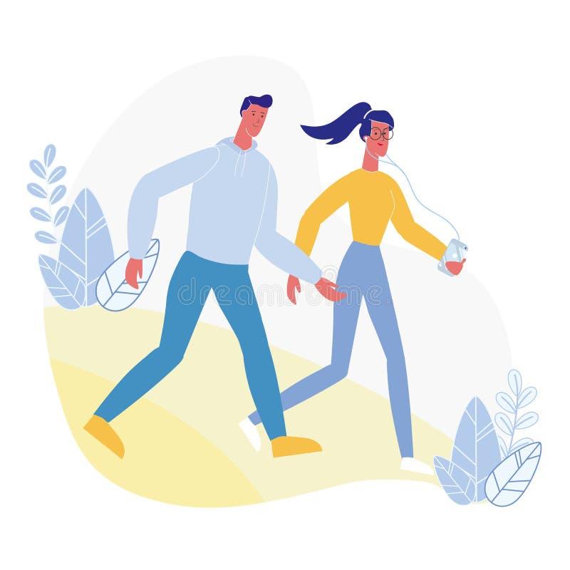 Young Couple on Walk Flat Vector Illustration stock illustration
