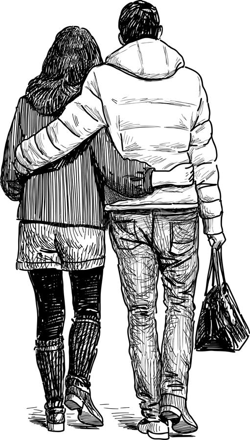 Young couple on a walk vector illustration
