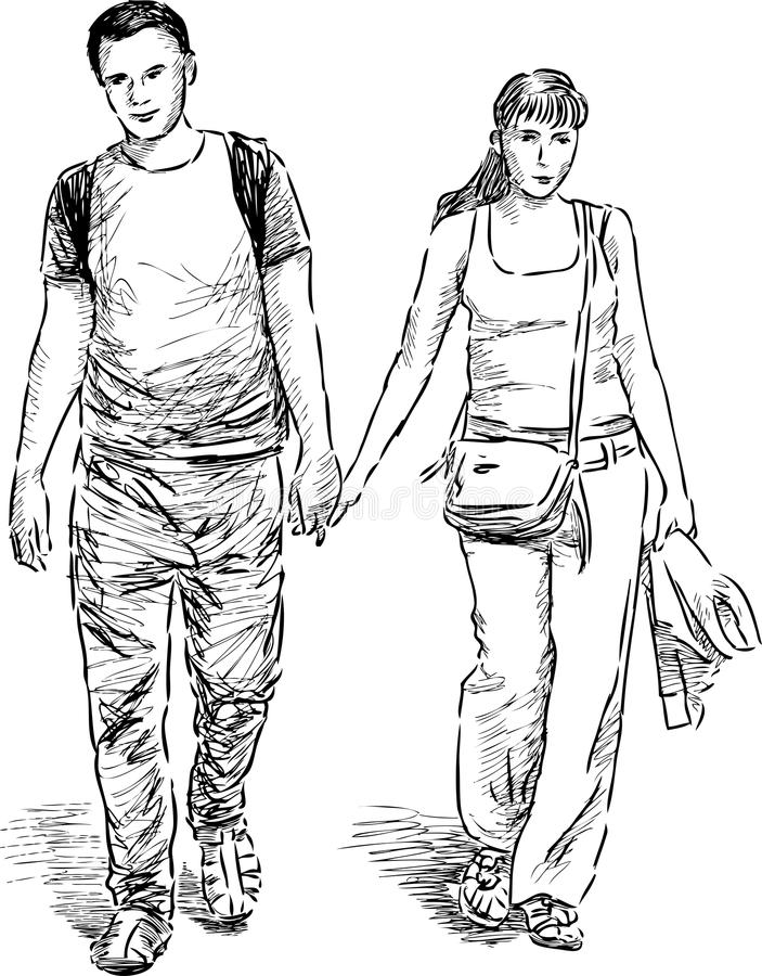Young couple at walk stock illustration