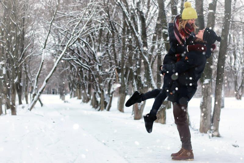 Couple street winter stock photo