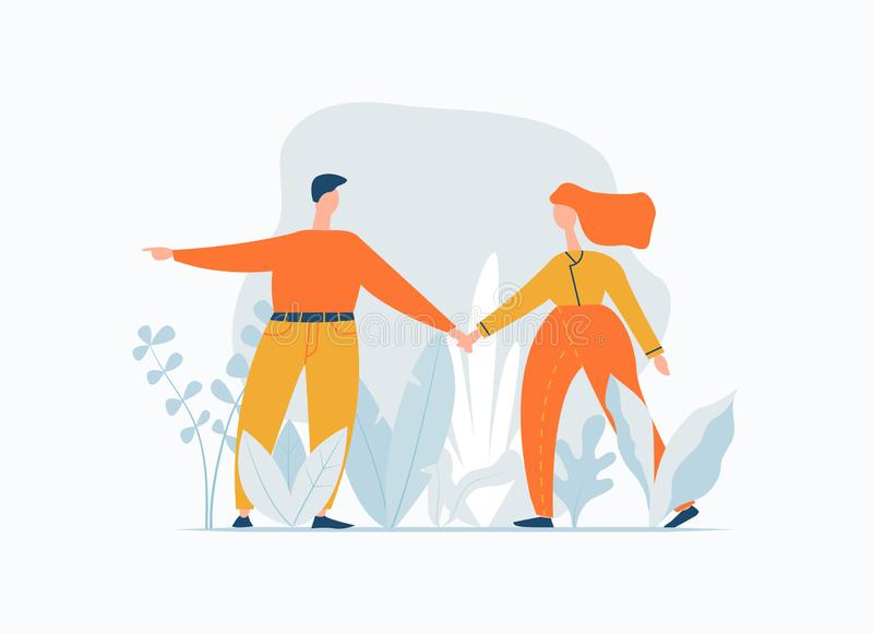 Young couple walking outdoor. Man leads a woman. Following referral relationship concept. Lifestyle minimal banner with stock illustration