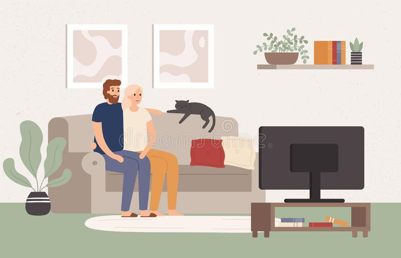 Young couple watch tv together. Happy man and woman sitting on couch and watching television show. Movie night vector stock illustration