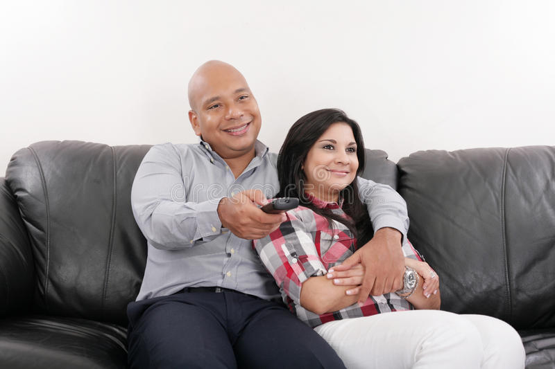 Young Couple Watching Tv Stock Photos