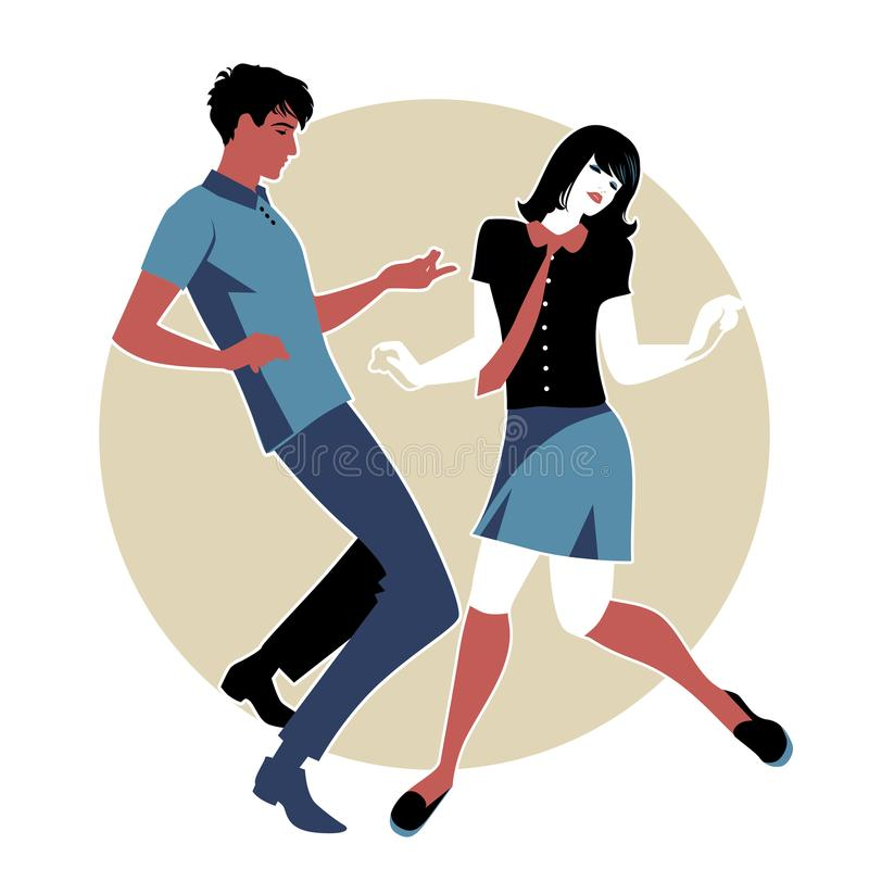 Young couple wearing retro clothes 60s, dancing Northern Soul or Mod style.  royalty free illustration