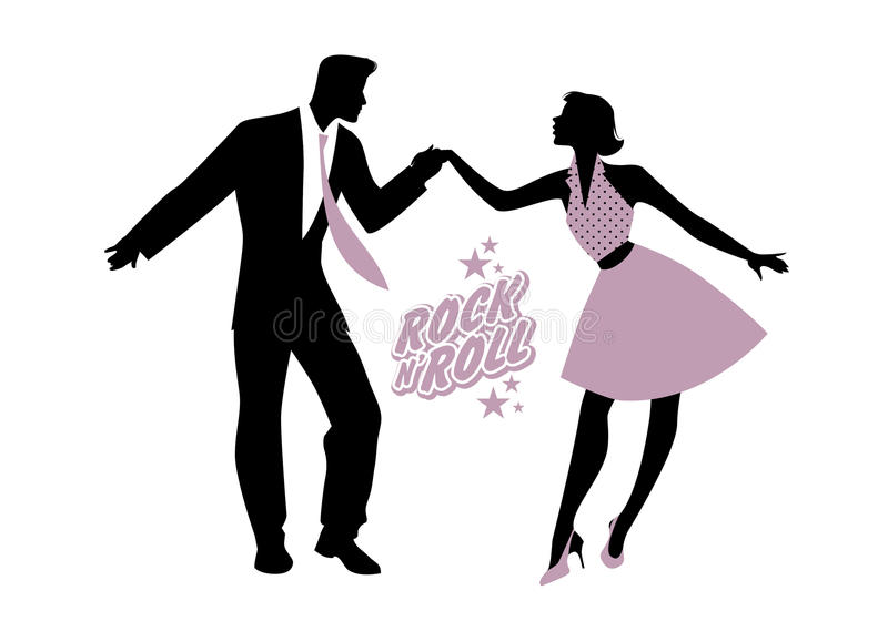 Young couple wearing 50`s clothes dancing rock and roll. Vector royalty free illustration