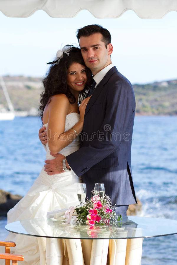 Young couple after the wedding stock image