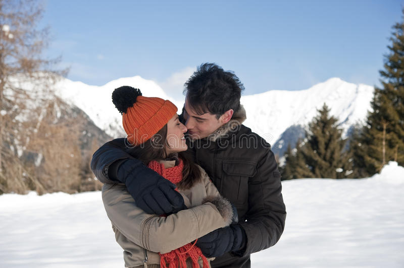 Young couple in winter royalty free stock image