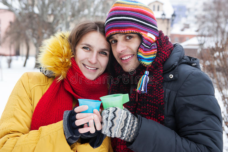 Young couple in winter stock image