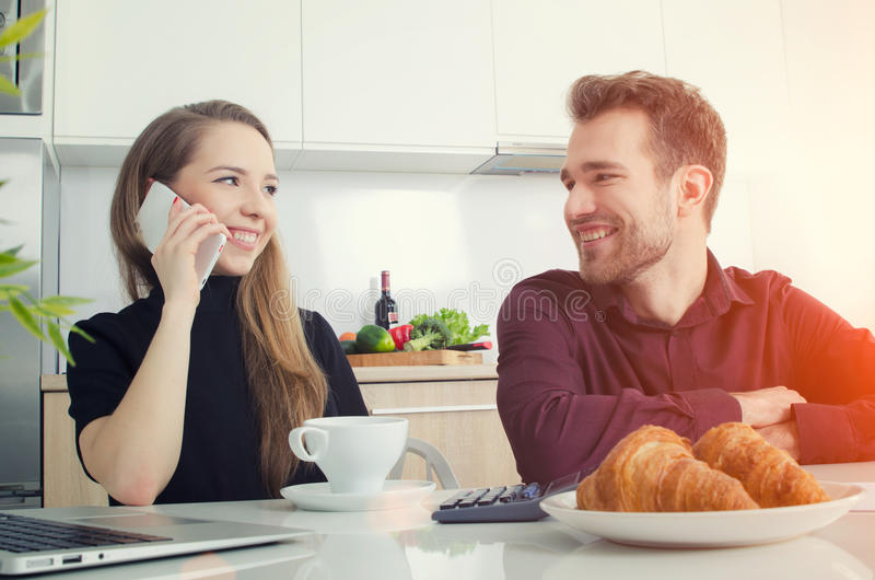 Young couple working at home home. royalty free stock images