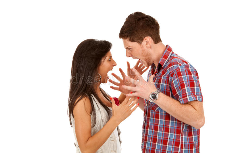 Young couple yelling at each othe stock photography