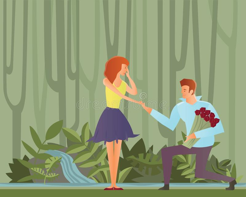 Young couples in love. Man makes a proposal to his girlfriend, kneeling. Vector Illustration. Young happy couples in love, man and woman. Man makes a proposal vector illustration