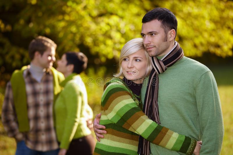 Young Couples Outdoor At Autumn Stock Photos