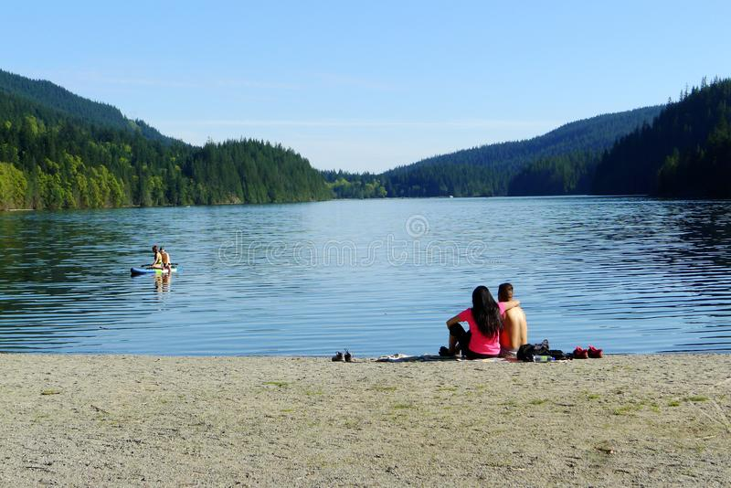 Young Couples at White Pine Beach stock photo