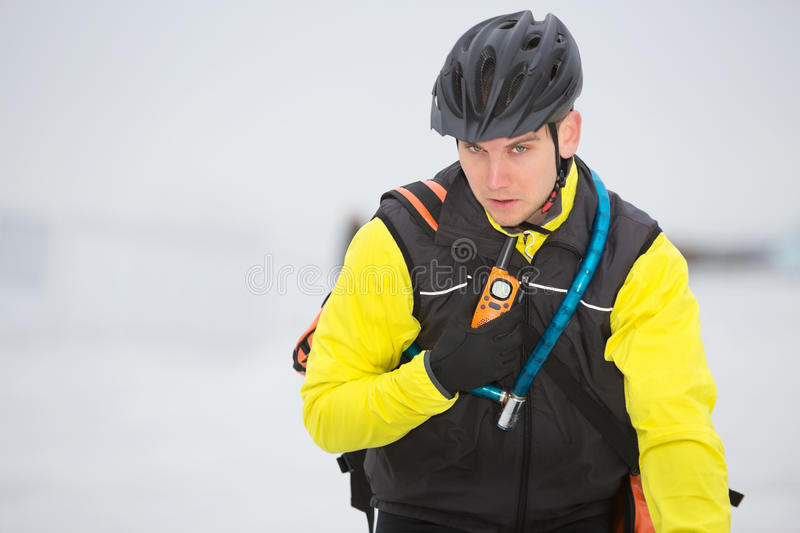Download Young Courier Delivery Man Using Walkie-Talkie Stock Image - Image: 36284313