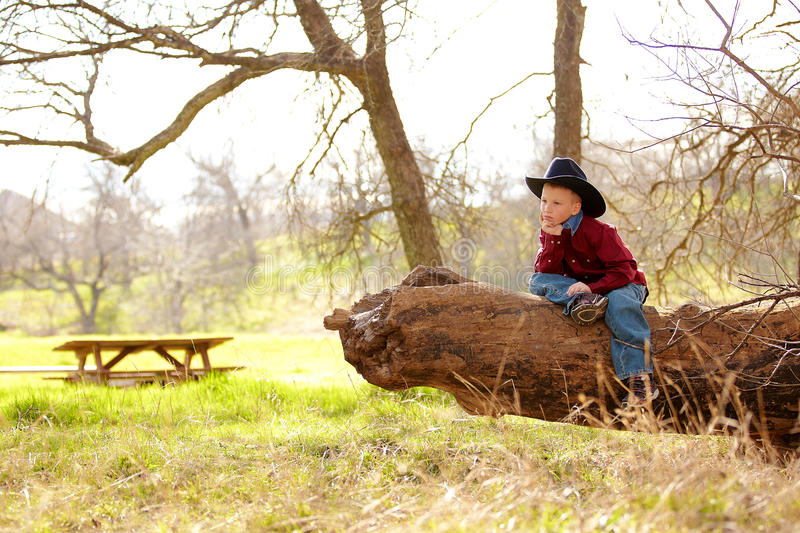 Young cowboy in countryside. Young boy in cowboy hat sat on wooden log in green countryside royalty free stock photo