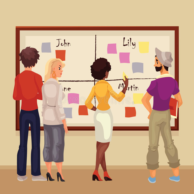 Young creative business people brainstorming ideas at the board. Sketch style vector illustration. Multiethnic group of young people hold a brainstorm standing royalty free illustration