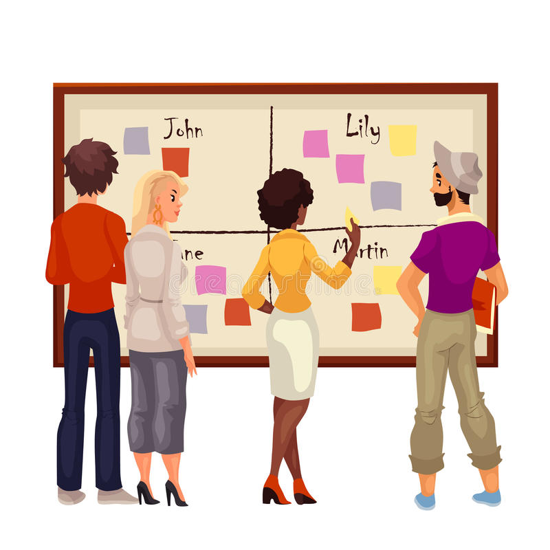 Young creative business people brainstorming ideas at the board. Sketch style vector illustration. Multiethnic group of young people hold a brainstorm standing vector illustration