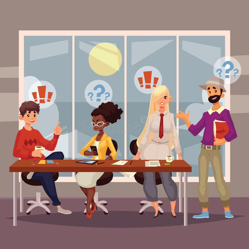 Young creative business people discussing ideas in office stock illustration
