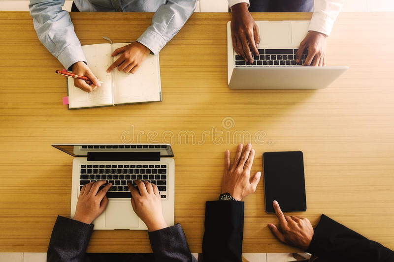 Young creative team working together, People Meeting Design Ideas Concept, stock image
