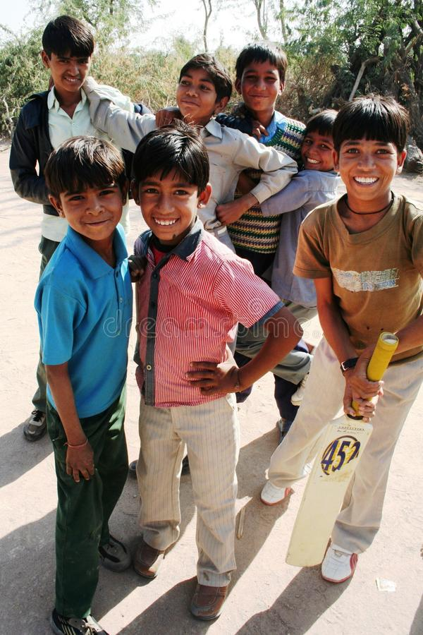 Young cricket team stock image
