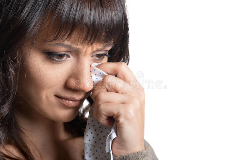 Young crying woman royalty free stock photography