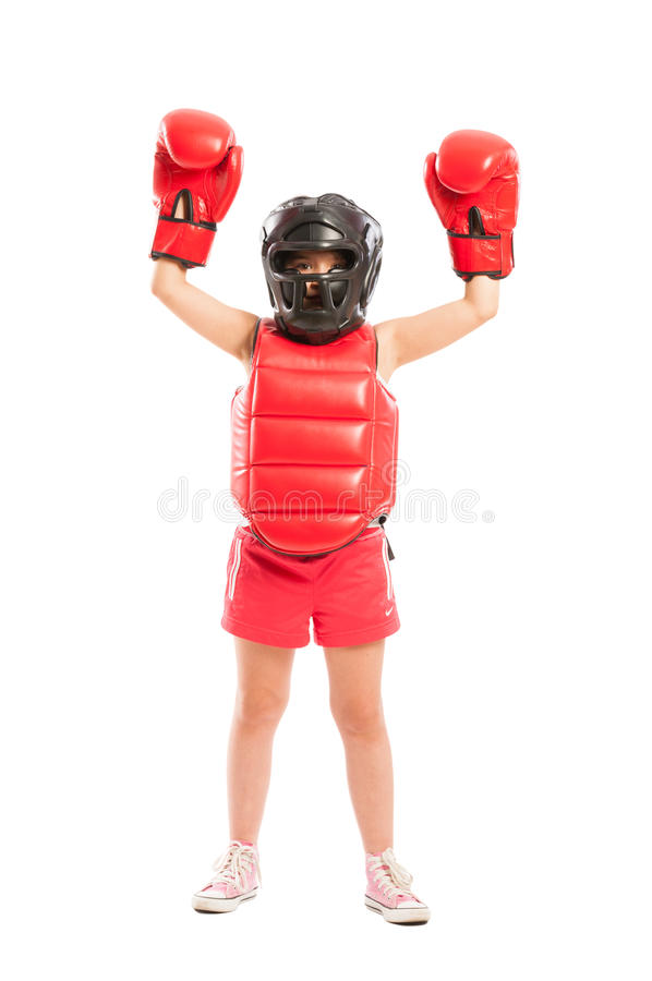 Young and cute boxer girl winner stock image