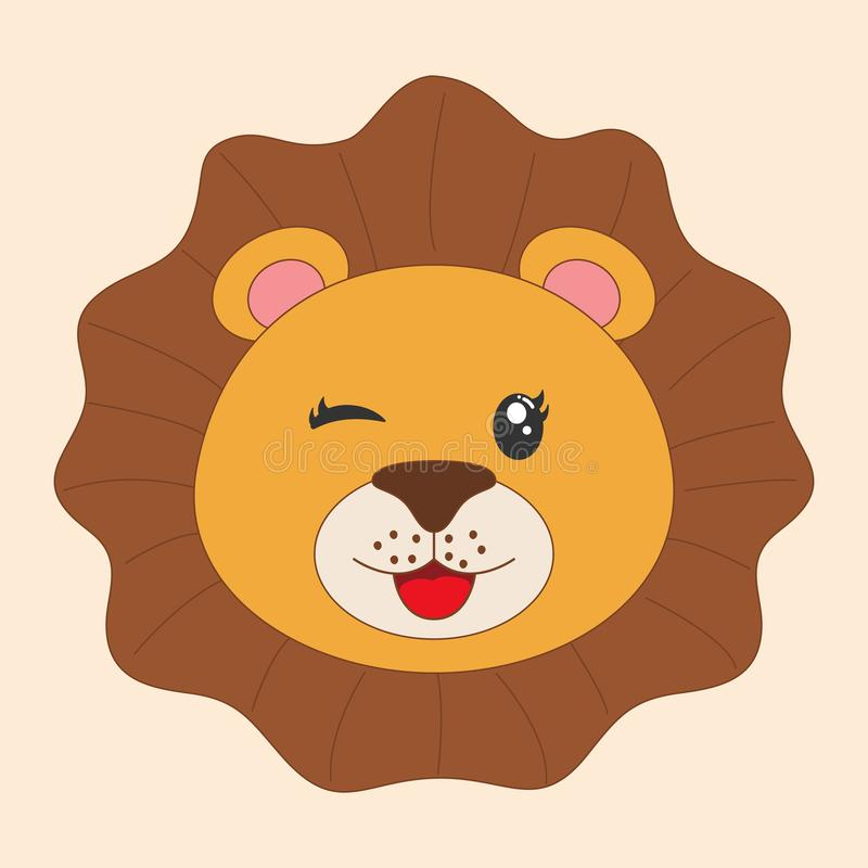 Young cute cartoon head lion. Greeting card. stock illustration