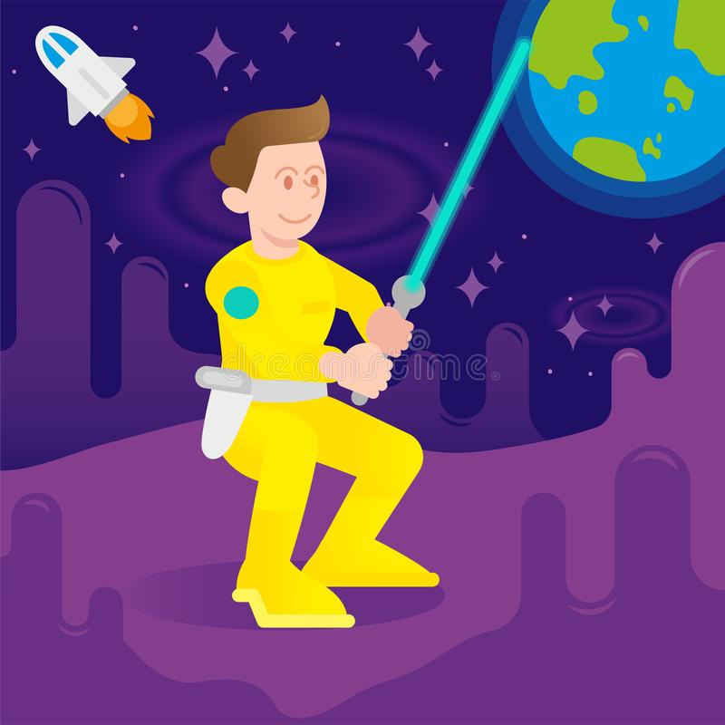 Astronaut fighter. Young cute cosmonaut astronaut fighter warrior man boy which keep space laser sword. dress in yellow modern uniform Stand on another planet or stock illustration