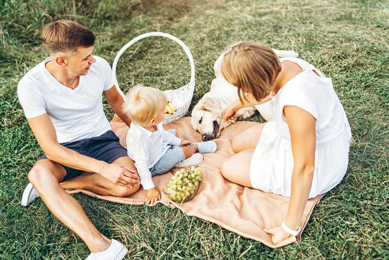 Young cute family on picnic with dog. Young pretty family on picnic with dog stock photos