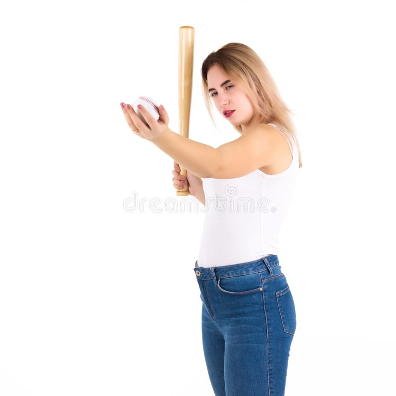 Young cute girl with baseball bat, isolated royalty free stock photos