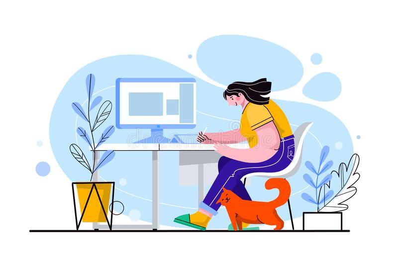 Young cute girl character sitting at the desk. She works with a laptop, a red cat is near. Female freelancer, student stock images