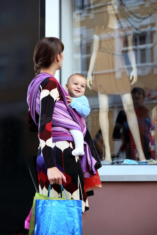 Download Young Cute Mother With Baby In Sling Stock Photo - Image: 29695822
