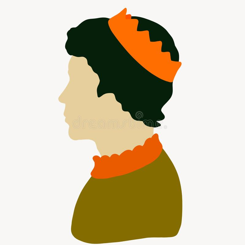Young cute prince in the crown, profile vector illustration
