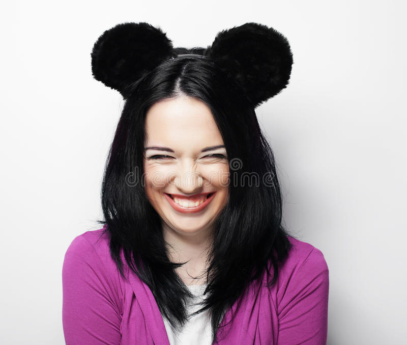 Young cute smiling brunette girl stock image