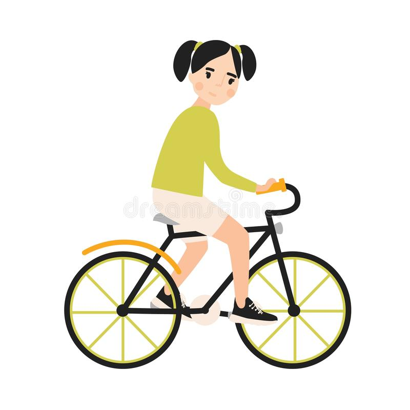 Young cute smiling girl riding bicycle. Cheerful child bicyclist pedaling urban bike isolated on white background royalty free illustration