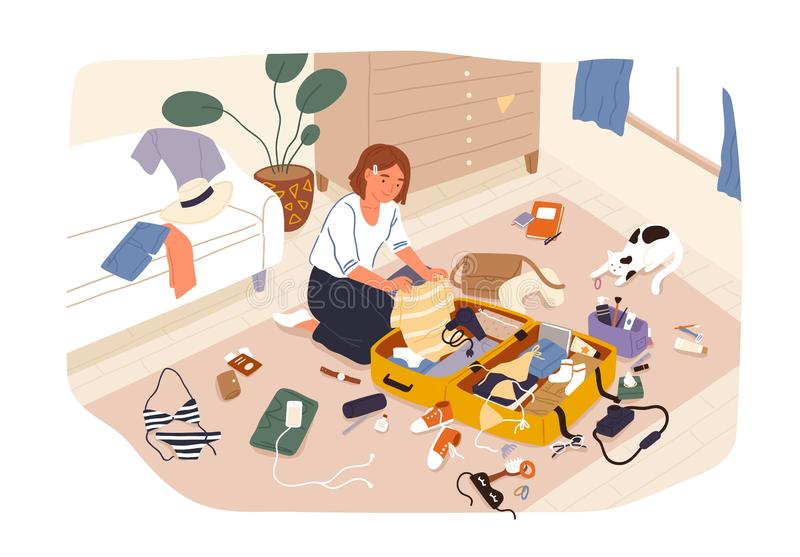 Young cute smiling girl sitting on floor and packing her suitcase or bag and preparing for trip or travel. Happy vector illustration