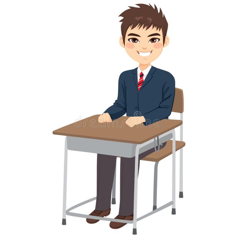 Student Boy Sitting Desk royalty free illustration