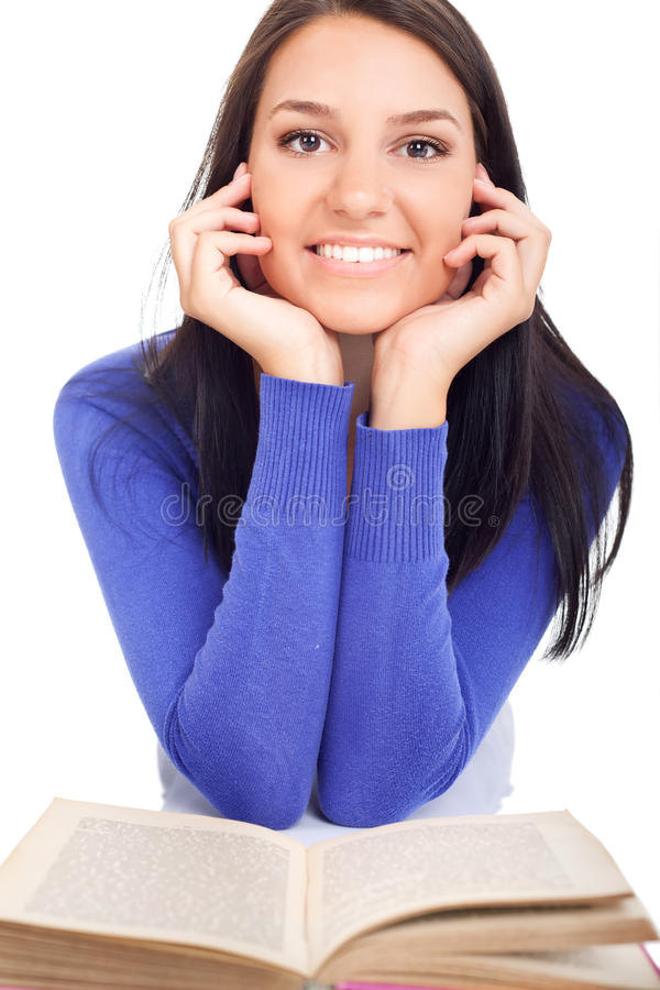 Young cute woman with book stock images