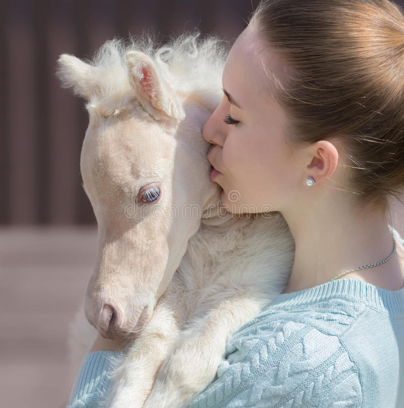 Young cute woman kissing miniature foal. Close up photo. stock photography